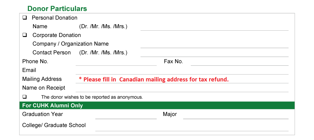 Donation from Canada By post 2
