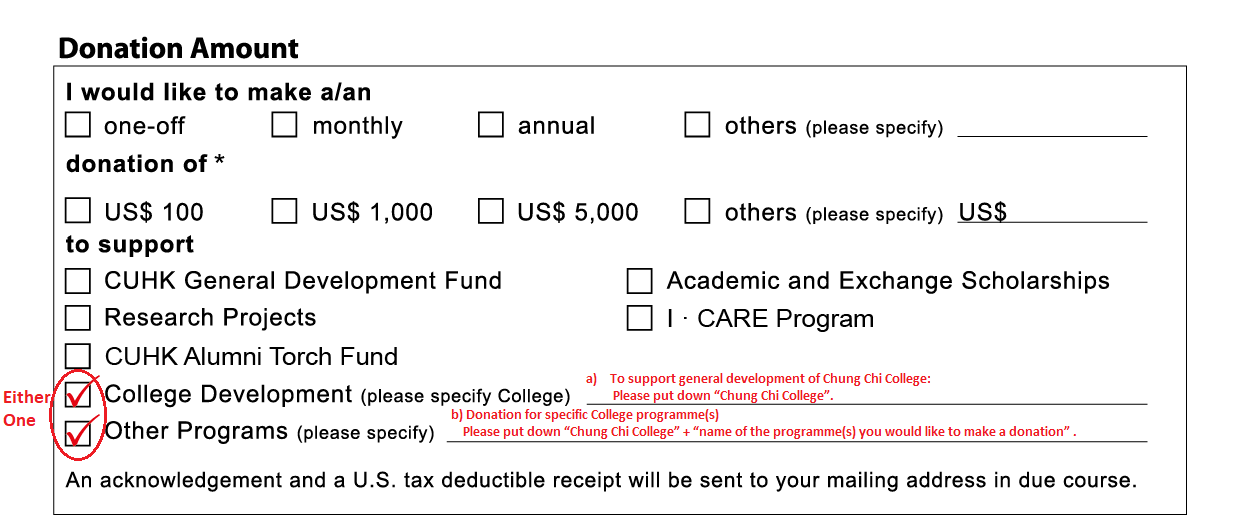Donation from US CUHK Foundation Inc By Cheque Step 2