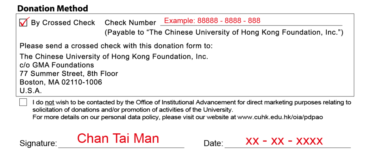 Donation from US CUHK Foundation Inc By Cheque Step 3